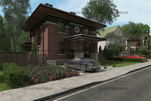 проект двухэтажного дома, с полноценным вторым этажом, с четырьмя спальнями