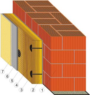 Система скреплённой теплоизоляции с применением двойного кирпича