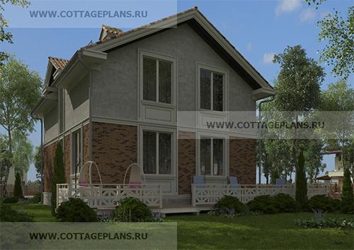 Проект двухэтажного дома с мансардой, с четырьмя спальнями