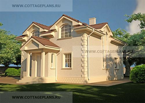 88-50 проект двухэтажного дома с мансардой, с цокольным этажом