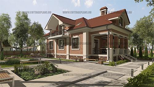 проект дома с цокольным этажом и мансардной кровлей.