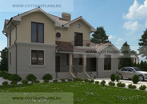 проект двухэтажного дома с 6-ю спальнями и террасой