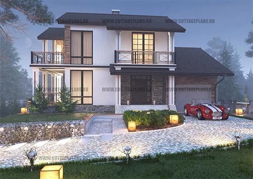 проект двухэтажного дома, с мансардой, с четырьмя спальнями, с встроенным гаражом на 1 машину
