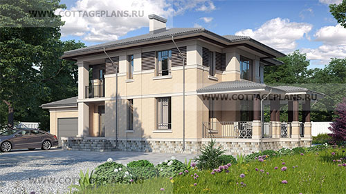 проект двухэтажного дома, с полноценным вторым этажом, с четырьмя спальнями, со вторым светом, с пристроенным гаражом на 1 машину