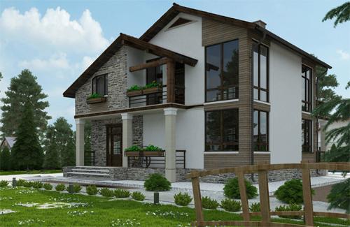 проект двухэтажного дома в стиле шале, с мансардой, с цокольным этажом