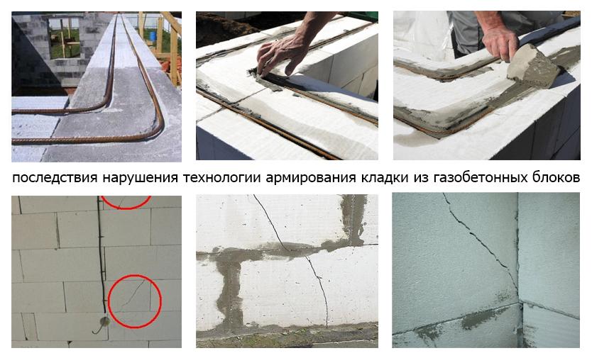 Армирование кладки стены из газосиликатных блоков