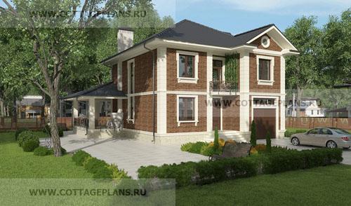 проект двухэтажного дома, с полноценным вторым этажом, с четырьмя спальнями,со вторым светом, с пристроенным гаражом на 1 машину