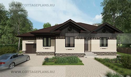 проект одноэтажного дома, с пристроенным гаражом на 1 машину, с тремя спальнями, с барбекю на террасе