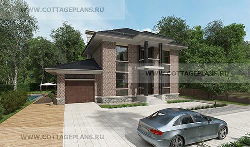 проект двухэтажного дома, с полноценным вторым этажом, с пристроенным гаражом на 1 машину