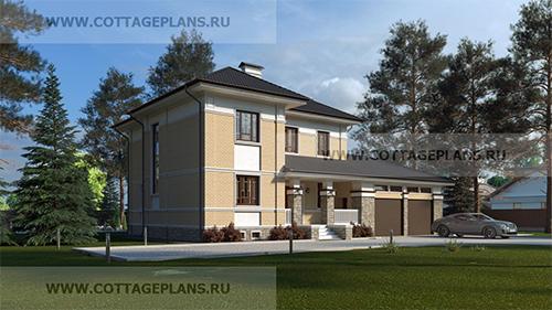 проект двухэтажного дома, с полноценным вторым этажом, с четырьмя спальнями, с пристроенным гаражом на 2 машины