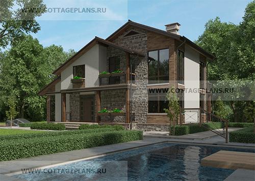 проект двухэтажного дома в стиле шале, с мансардой, со вторым светом
