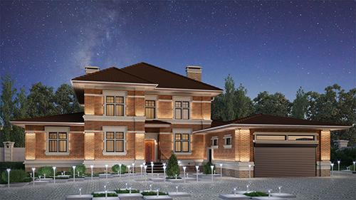 проект дома 95-36 из керамических блоков Керакам СуперТермо30 с гаражом на 2 машины, с сауной всё под одной крышей