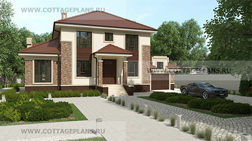 92-26 проект дома с каминным залом и гаражом на одну машину