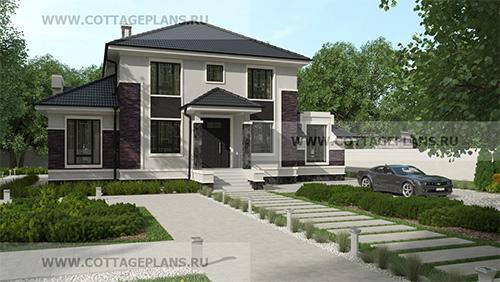 проект двухэтажного дома с полноценным вторым этажом, с 6-ю спальнями