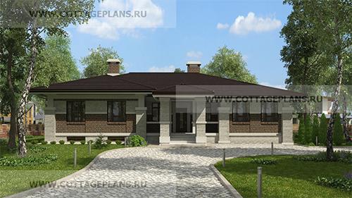 проект одноэтажного дома с четырьмя спальнями, с цокольным этажом и террасой