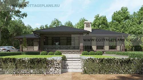 проект одноэтажного дома, с четырьмя спальнями, с каминным залом