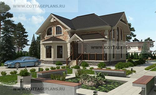 проект дома с мансардным этажом и террасой