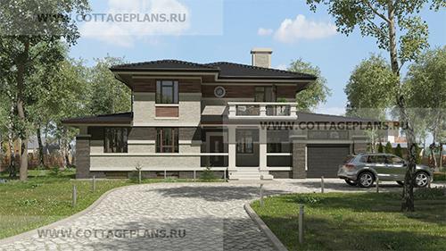 проект двухэтажного дома в стиле райта с гаражом