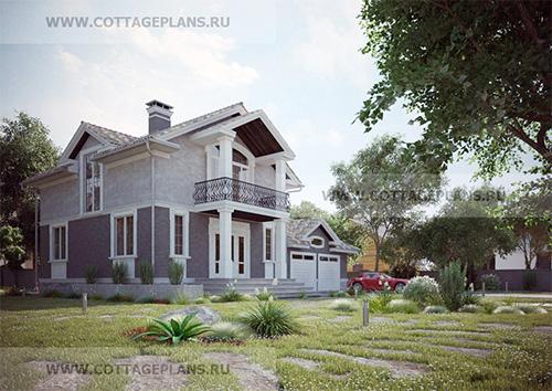 проект двухэтажного дома, с 5-ю спальнями, с мансардой, с пристроенным гаражом на 2 машины, с цокольным этажом
