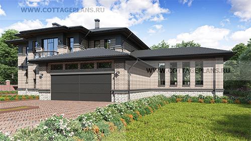 проект двухэтажного дома, с полноценным вторым этажом, с четырьмя спальнями, со вторым светом, с цокольным этажом, с бассейном, с пристроенным гаражом на 2 машины