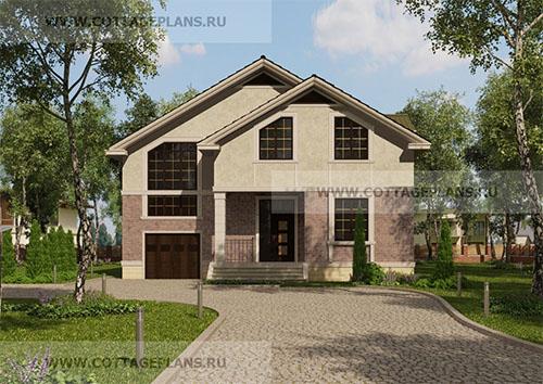 проект двухэтажного дома с мансардой, с пятью спальнями, с встроенным гаражом на 1 машину