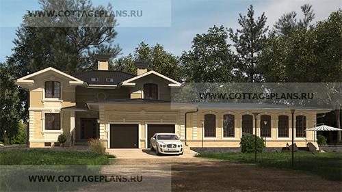 проект двухэтажного дома, с мансардой, с пристроенным гаражом на 2 машины, с цокольным этажом, с бассейном