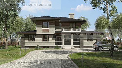 проект двухэтажного дома, с полноценным вторым этажом, с пятью спальнями, со вторым светом террасой