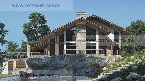 проект двухэтажного дома в стиле Шале с полноценным вторым этажом, со вторым светом, с барбекю на террасе