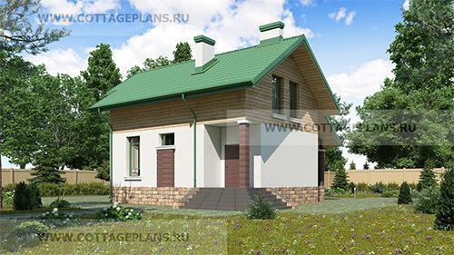 проект двухэтажного дома с мансардой, с тремя спальнями