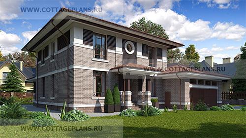 проект двухэтажного дома, с полноценным вторым этажом, с шестью спальнями, с цокольным этажом, с пристроенным гаражом на 2 машины