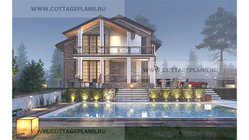 проект двухэтажного дома с мансардой, с сауной, парной в доме