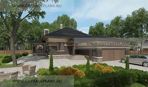 проект одноэтажного дома, с пристроенным гаражом на 2 машины, с барбекю на террасе