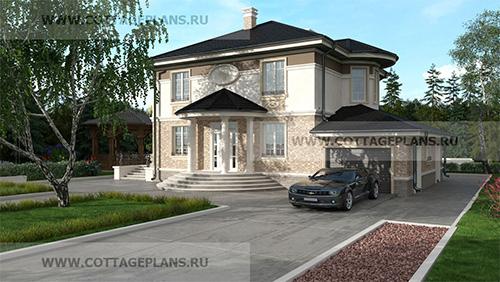 проект двухэтажного дома, с полноценным вторым этажом, с пятью спальнями, с пристроенным гаражом на 1 машину, с цокольным этажом