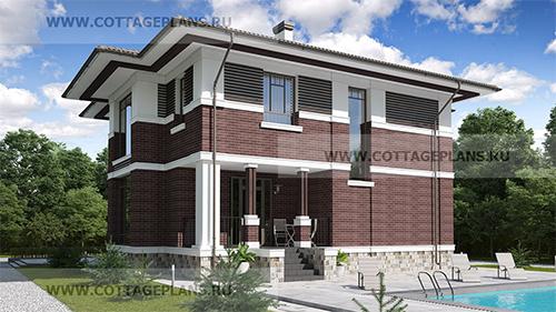 проект двухэтажного дома, с полноценным вторым этажом, с пятью спальнями, со вторым светом