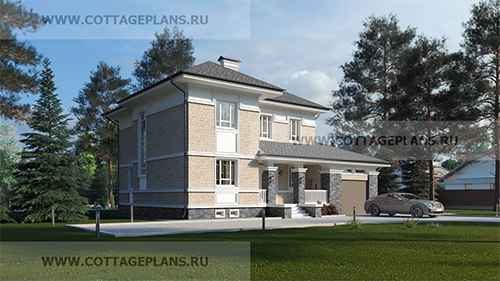 проект двухэтажного дома, с полноценным вторым этажом, с четырьмя спальнями, с цокольным этажом, с пристроенным гаражом на 1 машину