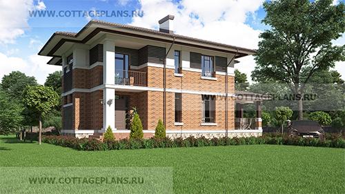 проект практичного двухэтажного дома с 5-ю комнатами и 2-м светом