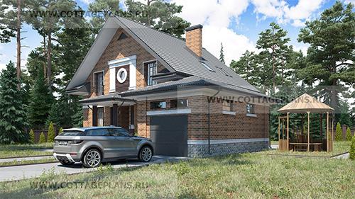 проект двухэтажного дома, с мансардой, с шестью спальнями, с пристроенным гаражом на 1 машину