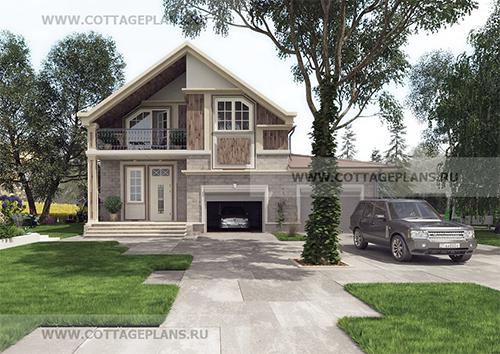 проект двухэтажного дома, с мансардой, с четырьмя спальнями, с встроенным гаражом на 2 машины
