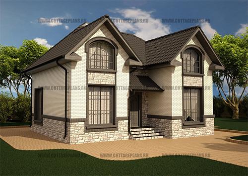 проект П-образного дома с мансардной кровлей и гаражом.