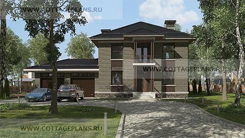 проект двухэтажного дома с гаражом на 2 машины и барбекю на террасе