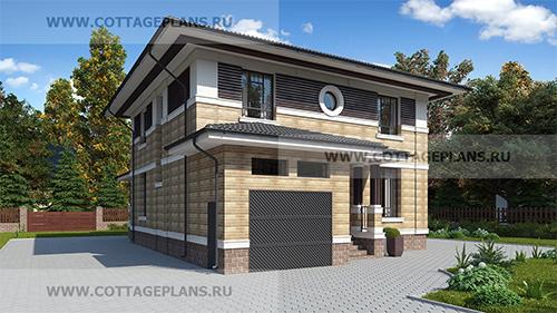 проект двухэтажного дома, с полноценным вторым этажом, с пятью спальнями, с встроенным гаражом на 1 машину