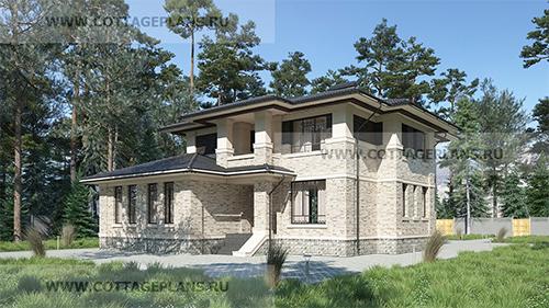 проект двухэтажного дома, с полноценным вторым этажом, с пятью спальнями, на две семьи