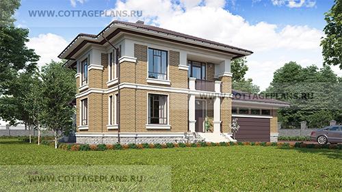проект двухэтажного дома, с полноценным вторым этажом, с пристроенным гаражом на 2 машины