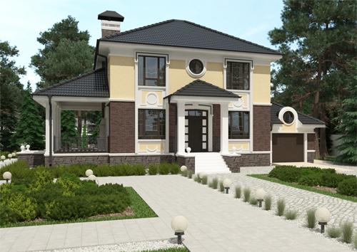 проект двухэтажного компактного дома, с пятью спальнями, и боковой террасой