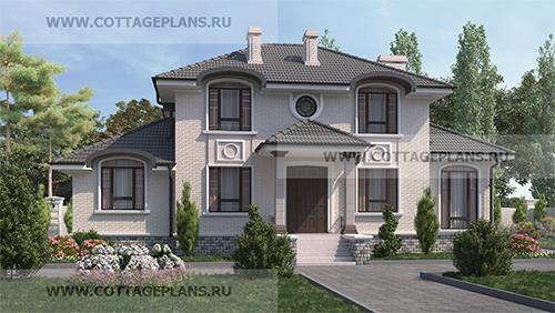 проект двухэтажного дома, с полноценным вторым этажом, с четырьмя спальнями, с сауной, парной в доме