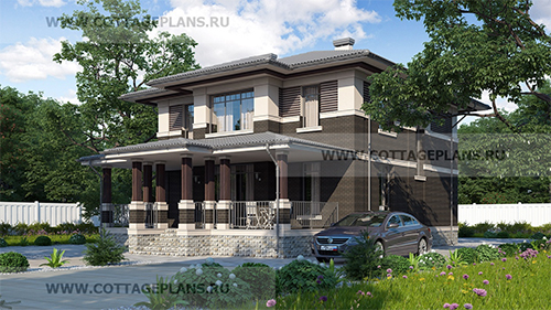 проект двухэтажного дома с 6-ю спальнями и вторым светом