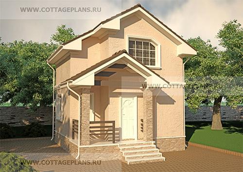 проект двухэтажного дома с мансардой, с двумя спальнями