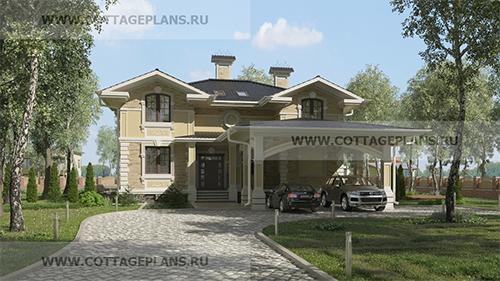 проект двухэтажного дома, с мансардой, с шестью спальнями, с цокольным этажом, с навесом на 2 машины