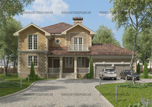 проект двухэтажного дома, с полноценным вторым этажом, с пятью спальнями, с пристроенным гаражом на 2 машины