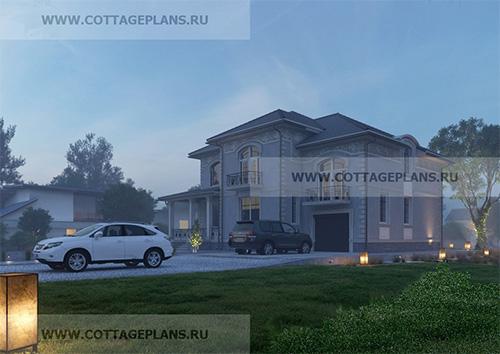 проект двухэтажного дома, с полноценным вторым этажом, с встроенным гаражом на одну машину